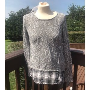 Cloud Chaser Gray Knit Sweater with Plaid Hem